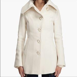 Mackage Wool / Cashmere Leather Trim Cream Coat
